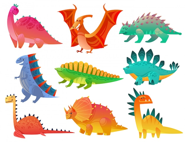Cartoon dinosaurier. drachen natur dino kinder spielzeug monster niedliche tiere prähistorische wilde fantasie charaktere bunte kunst gesetzt