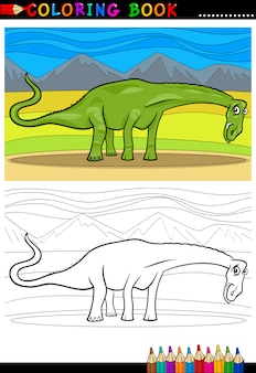 Cartoon diplodocus dinosaurier färbung seite