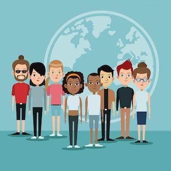 Cartoon-diversity-gruppe menschen welt sprachen gemeinschaft