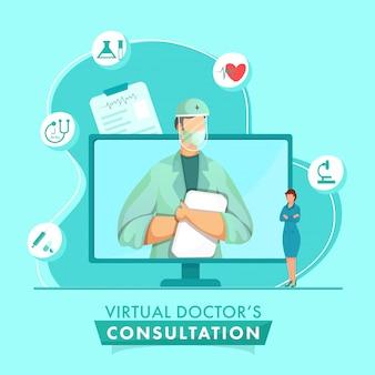 Cartoon doctor man, der schutzausrüstung im computerbildschirm mit frau und medizinischen elementen für virtuelles beratungskonzept trägt.