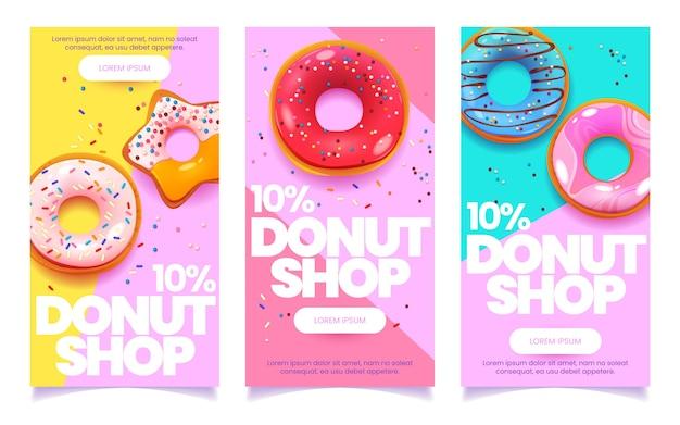 Cartoon donuts vertikales banner-set