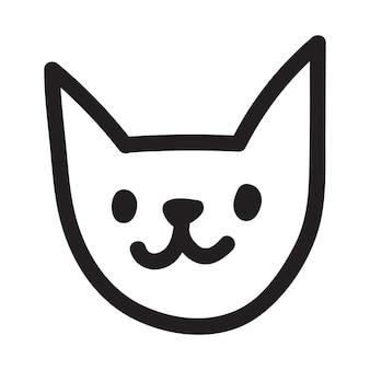 Cartoon doodle schwarze katze zeichnung. einfache und süße kätzchen silhouette, halloween-vektor-illustration.