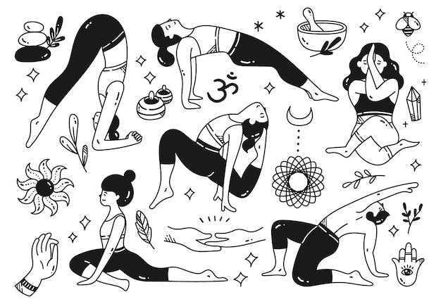 Cartoon-doodle von frau beim yoga in verschiedenen posen