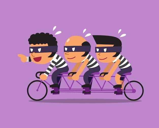 Cartoon drei diebe fahren tandemfahrrad