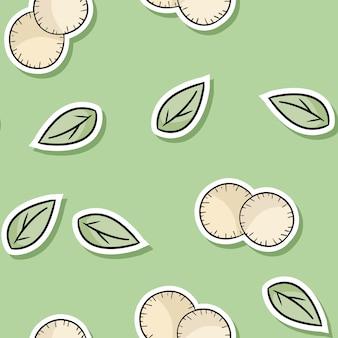 Cartoon eco freundliche baumwollauflagen und nahtloses muster der niedlichen aufkleber der blätter. geh grün
