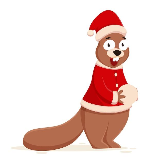 Cartoon eichhörnchen hält schneeball und tragen weihnachtsmütze mit jacke.