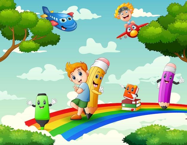 Cartoon ein junge und bleistifte auf dem regenbogen mit naturillustration