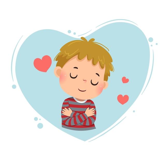 Cartoon eines kleinen jungen, der sich auf blauem herzen umarmt. liebe dich selbst konzept.