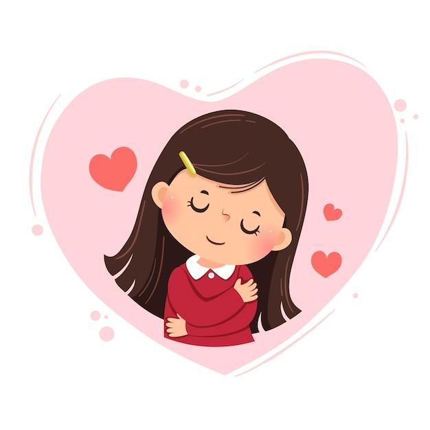 Cartoon eines kleinen mädchens, das sich auf rosa herz umarmt. liebe dich selbst konzept.
