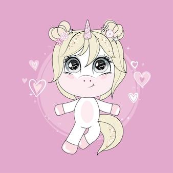 Cartoon einhorn mit blonden haaren