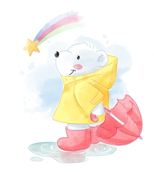 Cartoon-eisbär in regenmantel und regenbogen-illustration