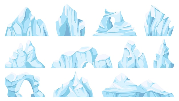 Cartoon-eisberg. treibender arktischer gletscher oder eisfelsen. gefrorenes wasser, antarktische eisgipfel, eisiger berg für wild, naturobjekte vektorset. nordpol-bruchstücke oder eisblöcke und berge