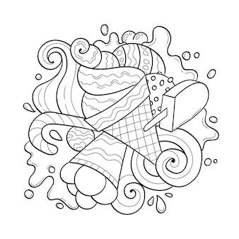Cartoon eiscreme und süßigkeiten malbuch