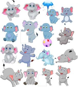 Cartoon elefantensammlung mit verschiedenen aktionen