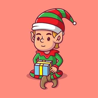Cartoon elf trägt ein geschenk