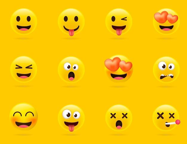 Cartoon-emoji-auflistung. set emoticons mit unterschiedlicher stimmung. 3d-stil