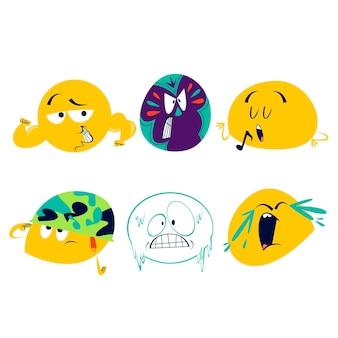 Cartoon emoticons aufkleber