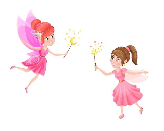Cartoon fabelhafte fee, zauberin, hexe, prinzessin charaktere. vector weibliche elfen, die rosa kleider tragen, die zauberstäbe spielen. nette lustige geflügelte mädchen, fantasiefee, die wie schmetterlinge fliegt