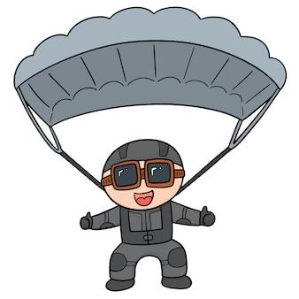 Cartoon fallschirmspringer