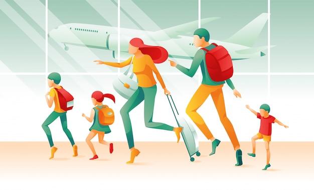 Cartoon familie in eile flughafen terminal fenster