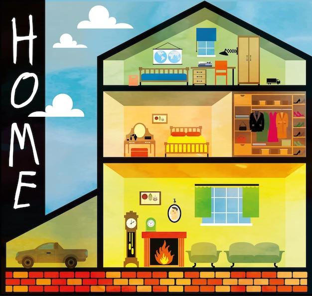 Cartoon-familienhaus