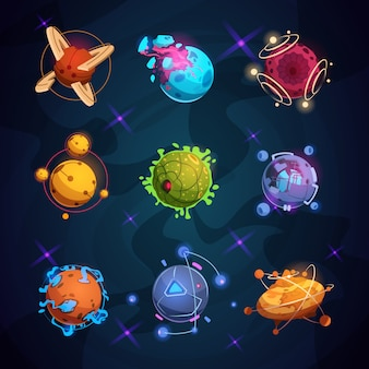 Cartoon fantastische planeten. ausländische planetengegenstände der fantasie für raumspiel