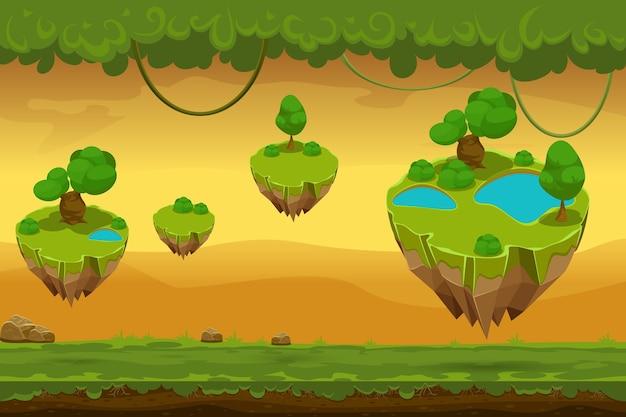 Cartoon fantastische waldlandschaft. naturpanorama für wild, liane und bedeckungsgras, landschaftsspiel. vektorillustration