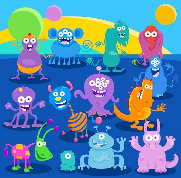 Cartoon fantasy monster oder alien charaktere