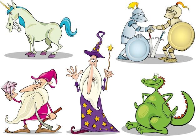 Cartoon fantasy zeichen festgelegt