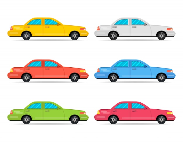 Cartoon farbe autos icon set