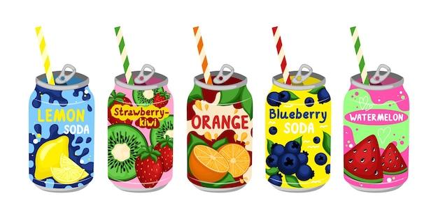 Cartoon farbe verschiedene leckere limonaden set vektor set
