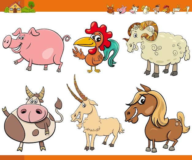 Cartoon farm animal charaktere sammlung