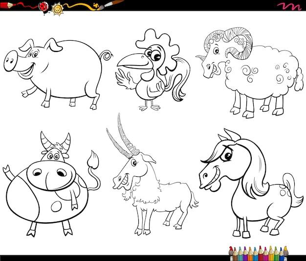 Cartoon farm animal charaktere set malbuch seite