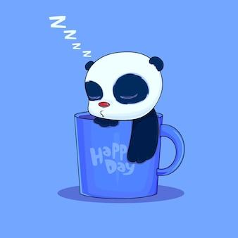 Cartoon fauler panda schläft in der cup-vektorprämie
