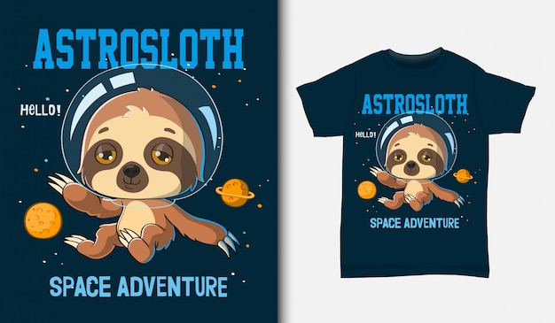 Cartoon faultier astronaut, mit t-shirt design, hand gezeichnet