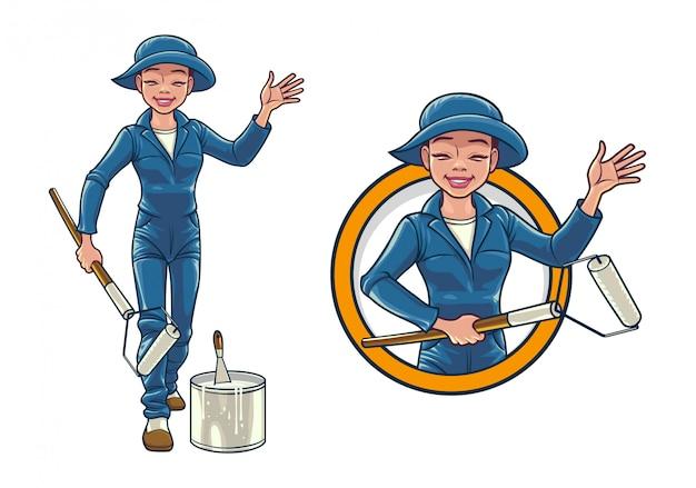 Cartoon female wall painter service