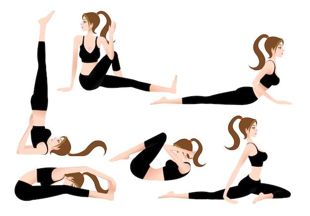 Cartoon female yoga trainer ermöglicht es ihnen, selbst yoga zu spielen.