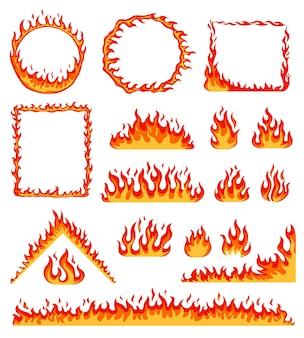 Cartoon-feuerrahmen roter heißer brennender kreis und rechteckige rahmen horizontaler flammenrand-vektorsatz