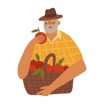 Cartoon-figur alter mann bauer hält roten apfel mit korb isoliert auf weißem stehen und smyli...