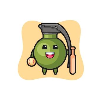 Cartoon-figur der granate als baseballspieler, niedliches design für t-shirt, aufkleber, logo-element