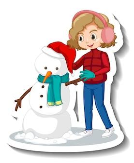 Cartoon-figur eines mädchens, das schneemann-aufkleber baut