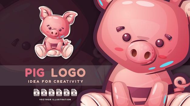 Cartoon-figur lustiger teddy-schwein niedlicher aufkleber