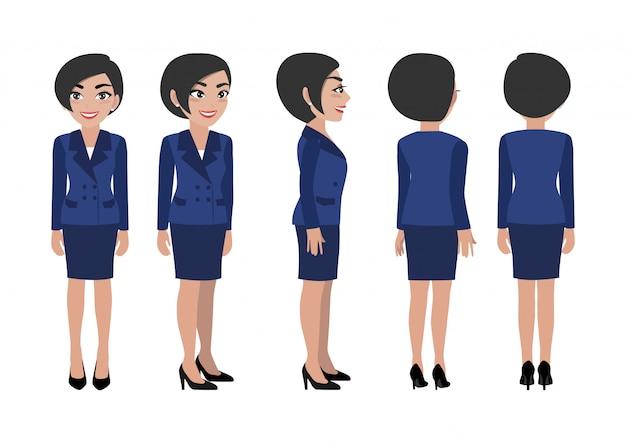 Cartoon-figur mit geschäftsfrau.
