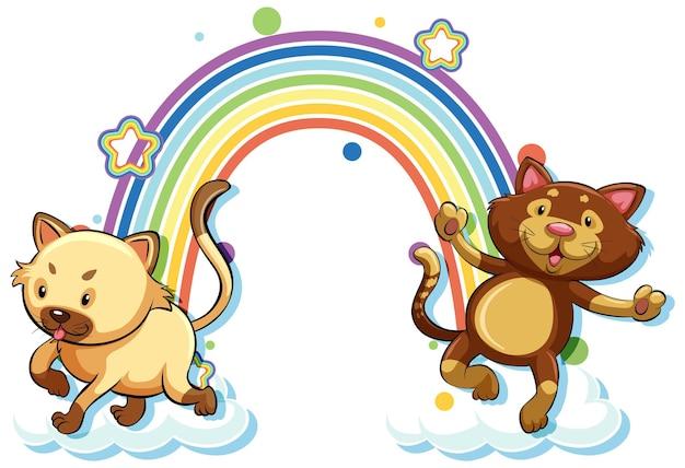 Cartoon-figur mit zwei katzen mit regenbogen