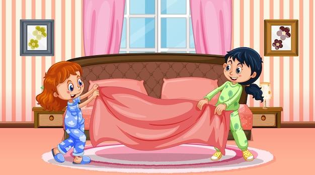 Cartoon-figur mit zwei mädchen in der schlafzimmerszene