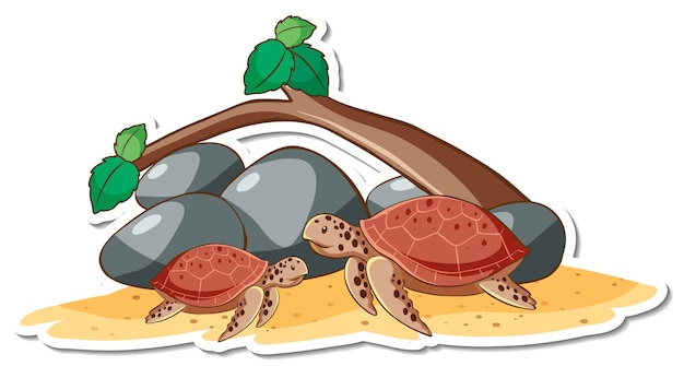 Cartoon-figur von meeresschildkröten-aufkleber