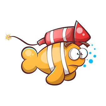 Cartoon fisch mit rucola