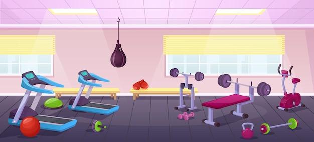 Cartoon-fitnessstudio-interieur mit fitnessgeräten, city-trainingsclub. leerer sportraum mit bankdrücken, laufband, hanteln vektorgrafik. platz für aktive übungen oder workouts