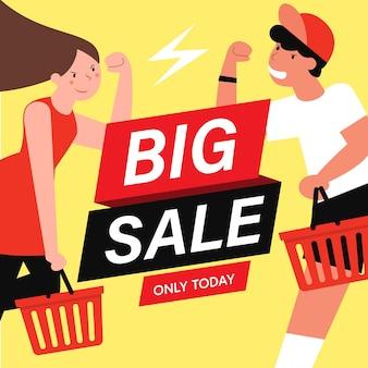 Cartoon flache charaktere kunden auf großen verkäufen, einkaufskonzept.