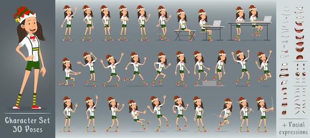 Cartoon flache christmas elf girl charakter vektor
